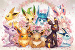 :3 :o ;) ;3 artist_name beige_background blue_eyes blush bow bowtie brown_eyes eevee espeon everyone flareon flower fur glaceon head_tilt jolteon lavender_eyes leafeon looking_at_viewer looking_back looking_to_the_side lying no_humans on_stomach one_eye_closed open_mouth paws petals pointy_ears pokemon pokemon_(creature) purple_eyes red_sclera simple_background sitting slit_pupils smile soul_gem spiked_fur standing stephanie_lee sylveon umbreon vaporeon