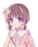 1girl bangs blush brown_eyes brown_hair closed_mouth copyright_request eyebrows_visible_through_hair flower frilled_shirt_collar frills hair_flower hair_ornament jacket low_twintails pink_jacket poyo_(shwjdddms249) shirt short_twintails simple_background smile solo twintails white_background white_flower white_shirt