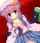 15_(tooka) 1girl book bow capelet crescent crescent_hair_ornament eating food food_on_face hair_bow hair_ornament hat mob_cap patchouli_knowledge purple_eyes purple_hair sandwich sash solo touhou