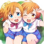2girls :d ;d ahoge arm_around_waist bangs blue_eyes blue_neckwear blue_skirt blush bow bowtie clenched_hand from_above hair_bow hand_on_own_head hand_up highres hoshizora_rin kousaka_honoka looking_at_viewer looking_up love_live! love_live!_school_idol_project miniskirt multiple_girls one_eye_closed one_side_up open_mouth orange_hair otonokizaka_school_uniform plaid plaid_skirt pleated_skirt red_neckwear school_uniform sen_(sen0910) shirt short_hair short_sleeves sitting skirt smile striped striped_neckwear white_shirt wrist_extended yellow_bow yellow_eyes