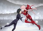 1boy 1girl bangs black_bodysuit black_hair blue_eyes blue_horns bodysuit commentary couple darling_in_the_franxx face-to-face facing_another floating floating_hair gloves green_eyes hair_ornament hairband hetero highres hiro_(darling_in_the_franxx) horns long_hair looking_at_another oni_horns pilot_suit pink_hair red_bodysuit red_gloves red_horns short_hair signature watermark web_address white_gloves white_hairband xenaheliodor zero_two_(darling_in_the_franxx)