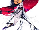 1girl abigail_williams_(fate/grand_order) aonogura bangs black_bow black_gloves black_headwear black_panties bow fate/grand_order fate_(series) gloves hat highres holding key keyhole large_hat long_hair looking_at_viewer multiple_bows navel orange_bow pale_skin panties parted_bangs red_eyes simple_background smile solo underwear very_long_hair white_background white_hair witch_hat