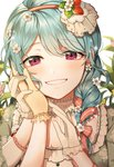 1girl alternate_hairstyle bang_dream! bangs bari_dal blue_hair braid earrings eyebrows_visible_through_hair flower flower_earrings food_themed_hair_ornament frilled_gloves frills gloves grin hair_flower hair_ornament hair_over_shoulder hair_ribbon hand_on_another's_cheek hand_on_another's_face hand_on_another's_hand highres jewelry long_hair looking_at_viewer matsuura_kanan purple_eyes red_ribbon ribbon single_braid smile solo strawberry_hair_ornament striped striped_ribbon upper_body white_flower white_gloves yellow_gloves