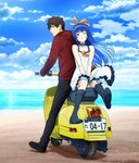 1boy 1girl ;) beach blue_eyes blue_hair boots brown_eyes brown_hair cloud ground_vehicle highres long_hair motor_vehicle ocean official_art one_eye_closed ribbon scooter shoumetsu_toshi sky smile takuya_(shoumetsu_toshi) yuki_(shoumetsu_toshi)