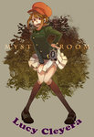 1girl 44 brown_eyes brown_hair cabbie_hat character_name copyright_name hat layton_brothers:_mystery_room lucy_creila police_badge professor_layton short_hair skirt socks solo