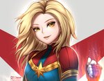 1girl blonde_hair blue_eyes bodysuit breasts captain_marvel clenched_hand commentary english_commentary gloves lips looking_at_viewer marvel medium_breasts mole mole_under_eye red_gloves reizdrawing skin_tight smile solo superhero
