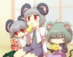 3girls :t animal_ears blush_stickers cheese chopsticks closed_eyes commentary cookie_(touhou) eating fake_nyon_(cookie) food grey_hair highres instant_udon kitsune_udon kofji_(cookie) mouse_ears multiple_girls namatama_(7lemo_can) nazrin nyon_(cookie) red_eyes sitting touhou udon