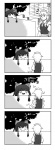 1girl 4koma azumanga_daiou bad_id bow braid comic hairband hakurei_reimu highres izayoi_sakuya long_hair monochrome nattororo parody short_hair silent_comic touhou twin_braids yukkuri_shiteitte_ne
