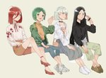4girls ahoge alternate_costume androgynous bag black_eyes black_hair bomber_jacket bort casual cellphone choker clothes_around_waist contemporary diamond_(houseki_no_kuni) flat_chest frown green_eyes green_hair hair_between_eyes houseki_no_kuni humanization invisible_chair jacket jacket_around_waist long_bangs long_hair multicolored multicolored_eyes multicolored_hair multiple_girls neck_ribbon phone phosphophyllite rainbow_eyes rainbow_hair rainfoxuwu red_eyes red_hair ribbon see-through shinsha_(houseki_no_kuni) shoes short_hair side-by-side sitting skirt smartphone smile sneakers spoilers watch wristwatch