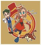 1boy 1girl :d beagle blue_eyes blush_stickers bow bowtie brown_eyes brown_hair coat copyright_name dog eyelashes full_body green_hair hairband hat highres katrielle_layton layton's_mystery_journey long_hair looking_at_another looking_at_viewer mini_hat mini_top_hat noah_montol open_clothes open_coat open_mouth pinstripe_pattern pointing professor_layton sharo smile striped sweatdrop top_hat undersyaro waistcoat