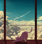 artist_name caring cat cloud dated fish landscape no_humans original perspective scenery signature sky smoke train