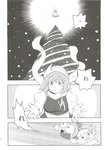 2girls absurdres bow chibi christmas_tree cirno comic doujinshi genso-kun greyscale hair_bow highres ice ice_wings letty_whiterock minato_hitori monochrome multiple_girls scan scan_artifacts scarf snot snowing touhou translated wings