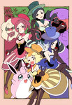 4girls amezawa_koma bare_shoulders blonde_hair blue_eyes blue_hair blush breasts choker cleavage dress drill_hair elbow_gloves frame gloves green_eyes hat highres holding holding_poke_ball lajournee_(pokemon) lanuit_(pokemon) lematin_(pokemon) lesoir_(pokemon) long_hair looking_at_viewer multicolored_hair multiple_girls pachirisu pantyhose pink_eyes pink_hair poke_ball pokemon pokemon_(game) pokemon_xy short_hair skirt skirt_set striped striped_dress swalot top_hat two-tone_hair v whimsicott wigglytuff yellow_eyes