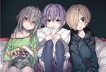 3girls absurdres ahoge bag blonde_hair blood blood_stain blush bow braid brown_eyes collarbone dancho_(dancyo) ear_piercing eye_reflection eyebrows_visible_through_hair food food_on_face girl_sandwich grey_eyes grey_hair hair_bow hair_flaps hair_intakes hair_ornament hair_over_one_eye hairclip highres hood hood_down hoodie hoshi_shouko idolmaster idolmaster_cinderella_girls kawaii_boku_to_142's koshimizu_sachiko lavender_hair long_hair long_sleeves multiple_girls mushroom off_shoulder parted_lips piercing pillow pillow_hug pink_bow reflection sandwiched shirasaka_koume shirt short_hair side_braid single_braid sitting skirt sleeves_past_fingers sleeves_past_wrists smile sweatdrop t-shirt thighhighs watching_television