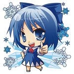 15_(tooka) 1girl :d blue_eyes blue_hair bow chibi cirno hair_bow ice open_mouth smile snowflakes solo thumbs_up touhou