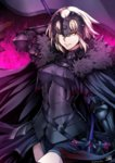 1girl arm_up armor armored_dress artist_name belt black_cape black_dress black_legwear blonde_hair breasts cape chain cowboy_shot dress fate/apocrypha fate/grand_order fate_(series) fire flag fur_trim gauntlets hair_between_eyes headpiece highres holding jeanne_alter looking_at_viewer parted_lips ruler_(fate/apocrypha) ruler_(fate/grand_order) short_hair signature smile smirk solo sword thighhighs twitter_username weapon yellow_eyes yusuki_(fukumen)