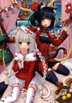 2girls absurdres animal_ears braid cat_ears chocolat_(sayori) christmas christmas_tree highres lolita_fashion multiple_girls original sayori thighhighs vanilla_(sayori)