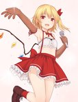 1girl :d alternate_costume arm_ribbon arm_up armpits bandeau bangs blonde_hair blush bow breasts brown_footwear brown_gloves center_frills commentary_request cowboy_shot crystal elbow_gloves flandre_scarlet gloves hair_bow highres holding holding_microphone leg_up looking_at_viewer microphone midriff miniskirt miyo_(ranthath) neck_ribbon no_hat no_headwear one_side_up open_mouth outstretched_arm petticoat pink_background red_bow red_eyes red_legwear red_neckwear red_ribbon red_skirt ribbon shoes short_hair simple_background skirt small_breasts smile socks solo suspender_skirt suspenders thighs touhou wings