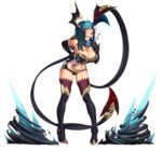 1girl absurdres bare_shoulders black_gloves black_legwear blood blue_eyes blue_hair boots breasts cleavage demon_girl demon_tail demon_wings elbow_gloves evelynn full_body gloves hand_on_hip high_heels highres horns large_breasts league_of_legends lips looking_at_viewer midriff naughty_face navel nikita_varb smile solo spikes tail tattoo thigh_boots thighhighs tongue transparent_background very_long_tail wings