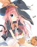 1girl animal_ears bat blue_eyes blush commentary_request food halloween halloween_costume hat jack-o'-lantern kushida_you long_hair looking_at_viewer neckerchief original pink_hair pumpkin short_sleeves simple_background solo white_background witch witch_hat