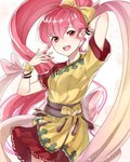 1girl arm_up bow dress fire_emblem fire_emblem:_mystery_of_the_emblem hair_bow haru_(nakajou-28) highres open_mouth phina_(fire_emblem) pink_eyes pink_hair ponytail short_sleeves simple_background solo white_background yellow_bow