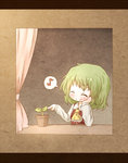 1girl arinu ascot blush elbow_rest flower_pot green_hair kazami_yuuka musical_note plant smile solo spoken_musical_note touhou window