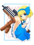 1girl alice_margatroid alice_margatroid_(pc-98) bangs blonde_hair blue_bow blue_eyes blue_neckwear blue_skirt blush boots bow bowtie brown_footwear bullpup buttons collared_shirt commentary_request eyebrows_visible_through_hair full_body gun hair_bow highres holding holding_gun holding_weapon inon looking_at_viewer rifle shirt short_hair short_sleeves skirt sniper_rifle solo suspender_skirt suspenders touhou touhou_(pc-98) walther walther_wa_2000 weapon white_shirt