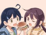 2girls ahoge akebono_(kantai_collection) alternate_hairstyle black_hair brown_eyes casual commentary_request dolphin_hair_ornament food hair_between_eyes hair_ornament hairclip hamburger holding holding_food jacket kantai_collection long_hair looking_at_viewer multiple_girls one_eye_closed open_mouth otoufu ponytail purple_eyes purple_hair sharing_food shirt star star_hair_ornament ushio_(kantai_collection)