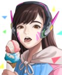 1girl adapted_costume bangs brown_eyes brown_hair casual d.va_(overwatch) double_scoop facial_mark headphones holding hood hoodie ice_cream_cone kirei_kotoba long_hair looking_at_viewer open_mouth overwatch portrait simple_background solo swept_bangs tongue tongue_out triangle whisker_markings white_background