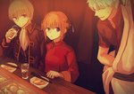 1girl 2boys black_jacket black_shirt blazer blue_eyes brown_hair china_dress chinese_clothes chopsticks clothes_down collarbone cup double_bun dress food gintama holding holding_cup jacket japanese_clothes kagura_(gintama) kimono long_sleeves multiple_boys noodles okita_sougo open_blazer open_clothes open_jacket open_mouth ramen red_dress red_eyes ribbon-trimmed_shirt sakata_gintoki shinsengumi_(gintama) shirt short_hair short_sleeves silver_hair sitting sweatdrop szzz_k white_kimono white_neckwear
