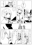 1boy 3girls comic glasses greyscale kaname_tatsuya kurono_yuu mahou_shoujo_madoka_magica monochrome multiple_girls school_uniform teenage translated