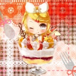 1girl ;q chibi cup food fork hair_ornament hairpin in_container in_cup in_food kagamine_rin minigirl one_eye_closed parfait solo spoon tongue tongue_out tottsuan vocaloid