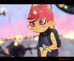 1boy aircraft blurry blurry_background blush closed_mouth helicopter kirikuchi_riku long_sleeves male_focus mohawk octarian octoling red_eyes red_hair short_hair single_sleeve smile solo splatoon_(series) splatoon_2 splatoon_2:_octo_expansion squatting suction_cups tentacle_hair wristband zipper zipper_pull_tab