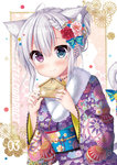 1girl animal_ears bangs bell blue_bow blue_eyes blush bow braid cat_ears cat_girl cat_tail closed_mouth commentary_request ema eyebrows_visible_through_hair fingernails floral_print flower fur_collar hair_between_eyes hair_bow hair_bun hair_flower hair_ornament heterochromia holding japanese_clothes jingle_bell kimono komiya_hitoma long_hair long_sleeves nail_polish obi original pink_flower pink_nails print_kimono purple_eyes purple_kimono red_flower sash smile solo striped striped_bow tail tail_bell tail_bow wide_sleeves
