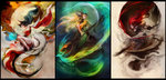 3girls ahri animal_ears bare_shoulders barefoot black_hair border breasts collage commentary crescent_moon detached_sleeves fox_ears fox_tail full_body green_eyes helmet highres katarina_du_couteau korean_clothes league_of_legends long_hair medium_breasts mermaid monster_girl moon muju multiple_girls multiple_tails nami_(league_of_legends) orb red_hair scales short_sword staff sword tail weapon work_in_progress yellow_eyes
