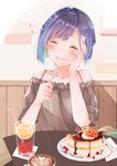1girl bare_shoulders blue_hair blush bob_cut brown_shirt cake cheesecake chocolate_syrup closed_eyes coffee commentary cup darling_in_the_franxx drink drinking_glass drinking_straw eating foam food foodgasm fork hair_ornament hairclip halloween hand_on_own_face heart holding holding_fork ichigo_(darling_in_the_franxx) jack-o'-lantern light_smile mina_(mina_k_13) off_shoulder pumpkin raised_eyebrows shirt short_hair solo table upper_body