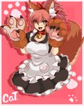 1girl absurdres alternate_costume animal_ear_fluff animal_ears apron bell bell_collar breasts cat_paws cleavage collar commentary enmaided fangs fate/grand_order fate_(series) fox_ears fox_girl fox_tail gloves hair_ribbon highres jingle_bell large_breasts long_hair looking_at_viewer maid maid_apron maid_headdress open_mouth paw_gloves paws pink_hair ponytail red_ribbon ribbon solo source_request tail tamamo_(fate)_(all) tamamo_cat_(fate) waist_apron yellow_eyes