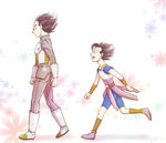 2boys armor black_eyes black_hair boots cabba dragon_ball dragon_ball_super floral_background from_side fuoore_(fore0042) gloves height_difference male_focus multiple_boys open_mouth smile vegeta walking white_boots white_gloves wristband