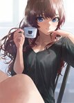 1girl :3 bangs black_shirt blue_eyes breasts brown_hair cleavage coffee commentary cup day hand_to_own_mouth hands_up highres holding holding_cup ichinose_shiki idolmaster idolmaster_cinderella_girls indoors long_hair looking_at_viewer looking_to_the_side medium_breasts mossi no_pants on_chair pinky_out shirt sitting solo t-shirt wavy_hair