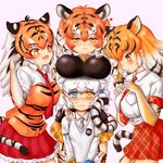 4girls @_@ absurdres anger_vein animal_ear_fluff animal_ears animal_print bangs black_hair blue_eyes blush bow bracelet breast_pocket breast_rest breasts breasts_on_head byakko_(kemono_friends) closed_mouth collared_shirt commentary_request elbow_gloves extra_ears eyebrows_visible_through_hair fang garter_straps gloves grey_hair grey_neckwear hair_bow hakumaiya half-closed_eyes hands_on_another's_shoulders hands_up heart height_difference heterochromia highres japari_symbol jewelry kemono_friends long_hair long_sleeves looking_at_another looking_at_viewer low-tied_long_hair multicolored_hair multiple_girls necktie nose_blush open_mouth orange_hair pink_background plaid plaid_neckwear plaid_skirt pocket print_gloves print_shirt red_neckwear shirt short_hair short_sleeves siberian_tiger_(kemono_friends) sidelocks skin_fang skirt smile sumatran_tiger_(kemono_friends) sweater_vest tail tearing_up thighhighs tiger_(kemono_friends) tiger_ears tiger_print tiger_tail twintails two-tone_hair v_arms white_hair white_shirt wing_collar yellow_eyes zettai_ryouiki