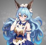 1girl absurdres alternate_costume animal_ears apron arm_garter backless_dress backless_outfit bangs blue_bow blue_hair blush bow breasts cleavage closed_mouth commentary_request dress embarrassed enmaided erune eyebrows_visible_through_hair ferry_(granblue_fantasy) frills gloves granblue_fantasy grey_background hair_between_eyes highres long_hair looking_at_viewer maid maid_headdress medium_breasts ohihil sideboob sleeveless sleeveless_dress solo upper_body waist_apron wavy_hair white_apron white_gloves yellow_eyes