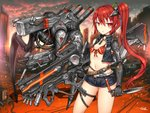 1girl belt bikini_top blurry blurry_background breasts choker city cropped_jacket gia gun jewelry knife long_hair looking_at_viewer mecha necklace original prosthesis prosthetic_arm red_eyes red_hair short_shorts shorts side_ponytail signature small_breasts solo thigh_strap weapon