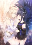 2girls alc_(ex2_lv) angel angel_and_devil angel_wings black_hair blue_eyes brown_eyes demon_girl demon_horns demon_wings detached_sleeves halo hand_on_another's_chin horns long_hair midriff multiple_girls original parted_lips silver_hair smile wings yuri