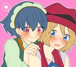 2girls blonde_hair blue_eyes blue_hair blush commentary hair_between_eyes hand_on_another's_shoulder hat heart looking_at_another mashiba_(masiba88) millefeui_(pokemon) multiple_girls open_mouth pink_background pokemon pokemon_(anime) pokemon_(game) pokemon_xy red_eyes red_hat serena_(pokemon) short_hair smile spoken_heart yuri
