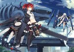 2girls black_bra black_footwear black_panties blue_eyes blue_footwear blue_sky boots bra breasts brown_legwear chainsword city cityscape cloud cloudy_sky commentary_request day jacket long_hair looking_at_viewer mecha_musume multiple_girls navel original panties poco_(asahi_age) ponytail red_hair ruins sky small_breasts stomach thighhighs underwear white_hair