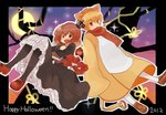 1boy 1girl 2012 animal_ears book crown frills full_moon halloween holding holding_book lion_ears looking_at_viewer maria_(umineko) mary_janes moon nuancho open_mouth pantyhose petticoat purple_eyes red_eyes sakutarou scarf shoes smile umineko_no_naku_koro_ni ushiromiya_maria