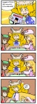 3girls 4koma :< animal_ears board_game cat_ears cat_tail chen comic dice drooling fang finnish_text fox_tail hair_ribbon hands_in_opposite_sleeves hat monopoly multiple_girls multiple_tails non-web_source open_mouth pac-man pac-man_(game) red_ribbon ribbon saliva setz sleeping tail touhou translated truth yakumo_ran yakumo_yukari yellow_eyes zzz