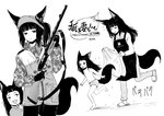 2girls :d :p animal_ears apron bangs batta_(kanzume_quality) blunt_bangs blush camouflage chasing closed_mouth commentary_request eyebrows_visible_through_hair fox_ears fox_girl fox_tail gloves greyscale gun holding holding_gun holding_weapon long_hair long_sleeves looking_at_viewer monochrome mother_and_daughter multiple_girls open_mouth original panties pants ponytail rifle running sandals smile standing standing_on_one_leg tail tongue tongue_out topless towel underwear weapon wet white_background