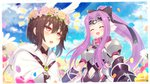 2girls :d :o ^_^ bangs bare_shoulders belt_buckle belt_collar black_bow black_dress blue_flower blue_sky blush bow breastplate breasts brown_hair brown_rose buckle cloak closed_eyes cloud cloudy_sky collarbone commentary_request day dress eyebrows_visible_through_hair fang fate/grand_order fate_(series) field flower flower_field flower_wreath hair_between_eyes hair_bow hair_flower hair_ornament head_wings head_wreath high_ponytail highres hood hood_down hooded_cloak kaina_(tsubasakuronikuru) long_hair medusa_(lancer)_(fate) multiple_girls navel navel_cutout notice_lines open_mouth ortlinde_(fate/grand_order) outdoors parted_bangs petals pink_flower pink_rose ponytail purple_flower purple_hair red_collar red_eyes rider rose sidelocks sky sleeveless sleeveless_dress small_breasts smile valkyrie_(fate/grand_order) very_long_hair viewfinder white_cloak white_wings wings yellow_flower yellow_rose