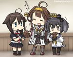 +++ 3girls ahoge anchor_symbol bare_shoulders black_serafuku boots braid brown_eyes brown_hair commentary_request dated detached_sleeves double_bun dress eating eating_hair fingerless_gloves gloves grey_hair hair_bun hair_ornament hair_over_shoulder hairband hamu_koutarou headgear kantai_collection kongou_(kantai_collection) long_hair multiple_girls neckerchief nontraditional_miko pantyhose pleated_skirt remodel_(kantai_collection) ribbon-trimmed_sleeves ribbon_trim sailor_dress school_uniform serafuku shigure_(kantai_collection) short_hair_with_long_locks single_braid skirt thigh_boots thighhighs tokitsukaze_(kantai_collection) translated